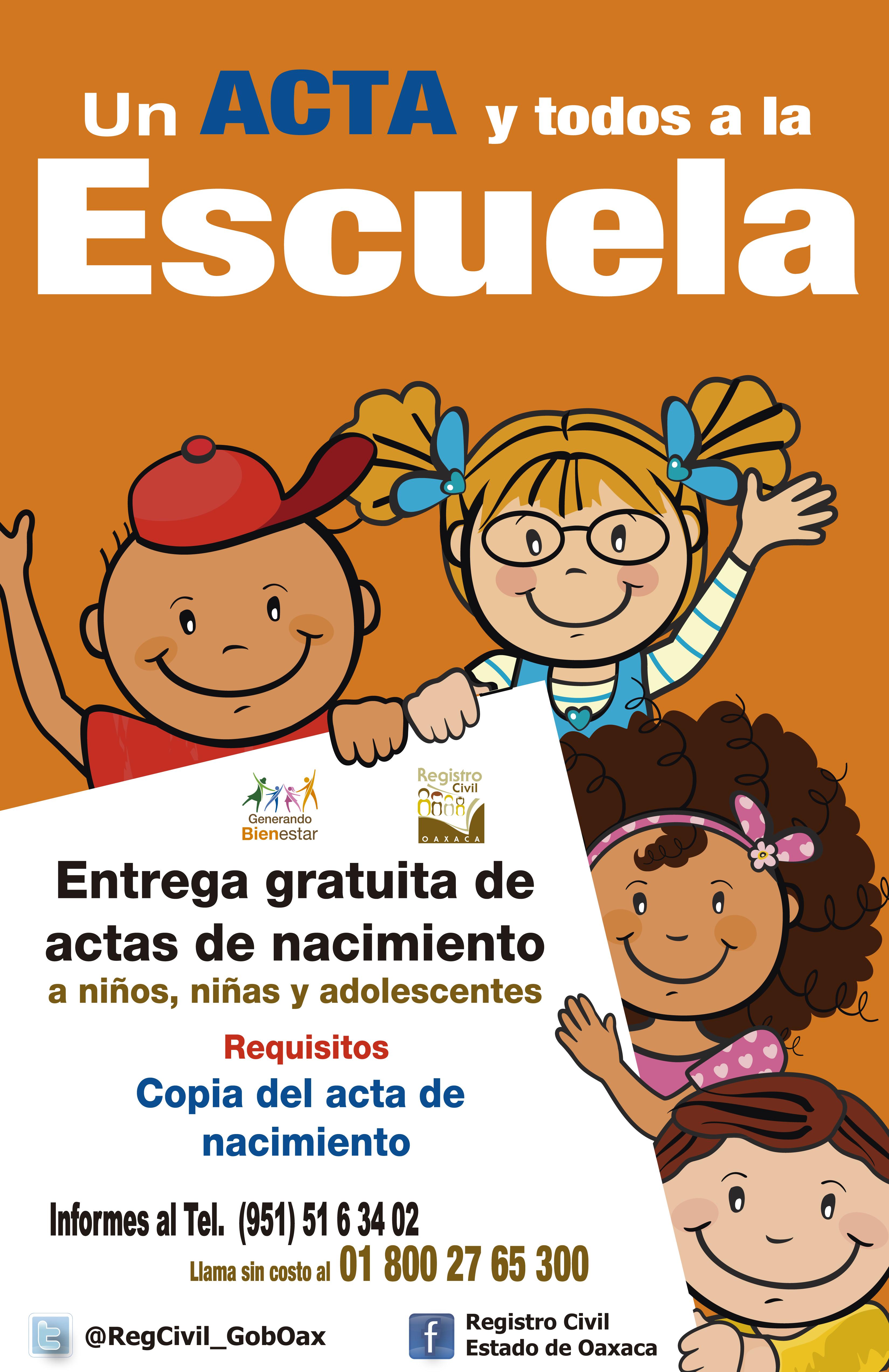 """Implementa Registro Civil Programa """"Un Acta y Todos a la Escuela ..."""
