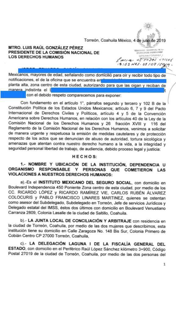 oficio de denuncia ante la CNDH Torreón Página 3