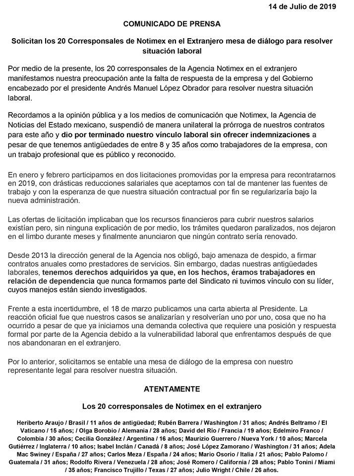 Notimex desampara corresponsales en el extranjero, exigen diálogo pagina 3