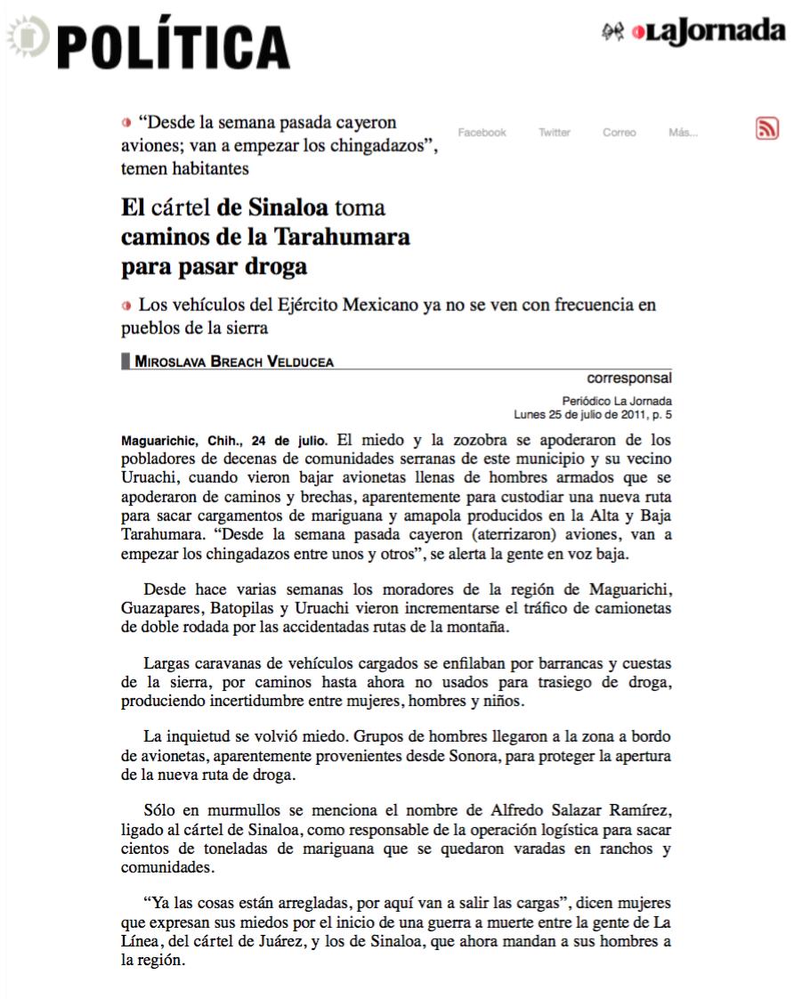 El cártel de Sinaloa toma caminos de la Tarahumara pagina 3