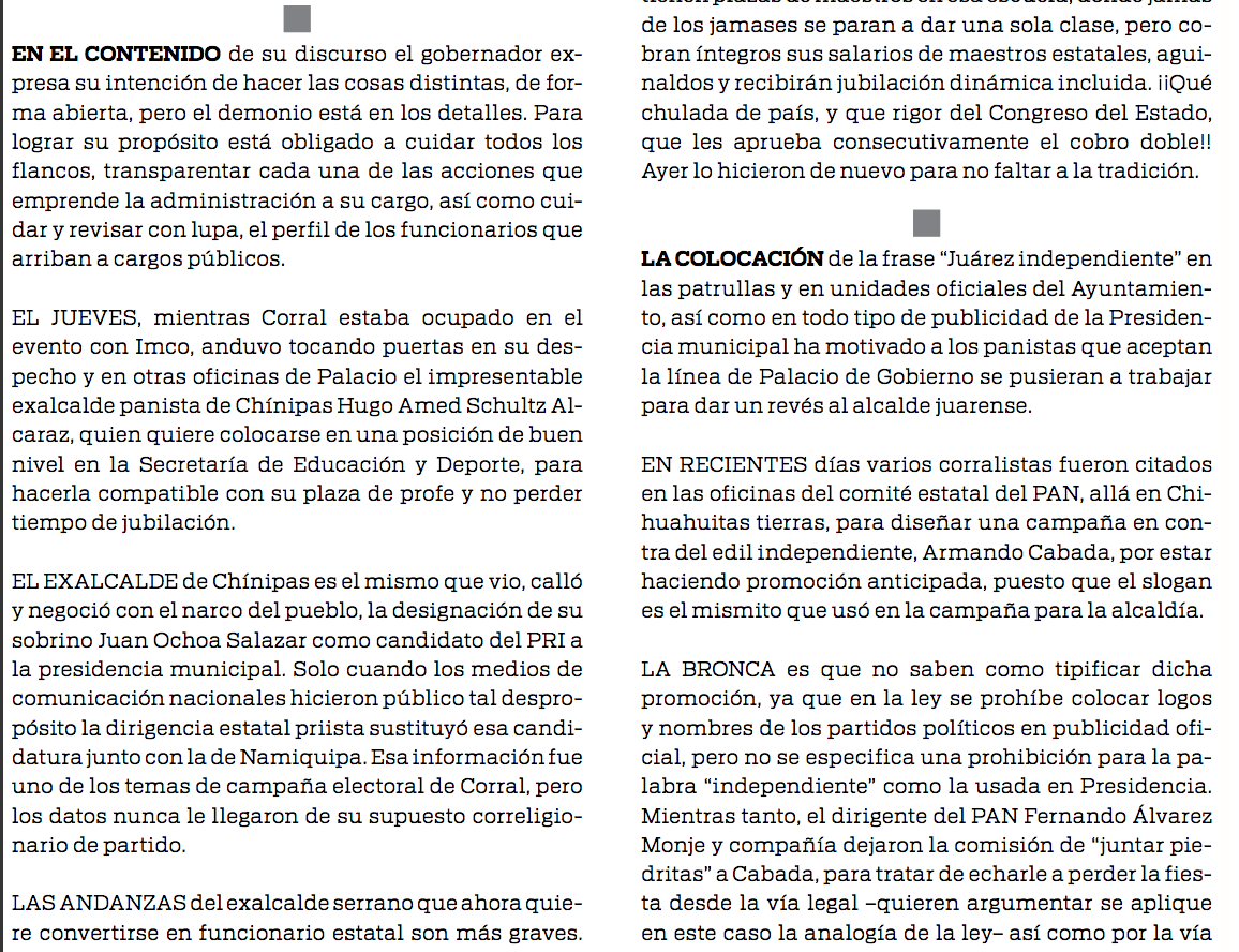 Columna Don Mirone, la periodista pagina 3