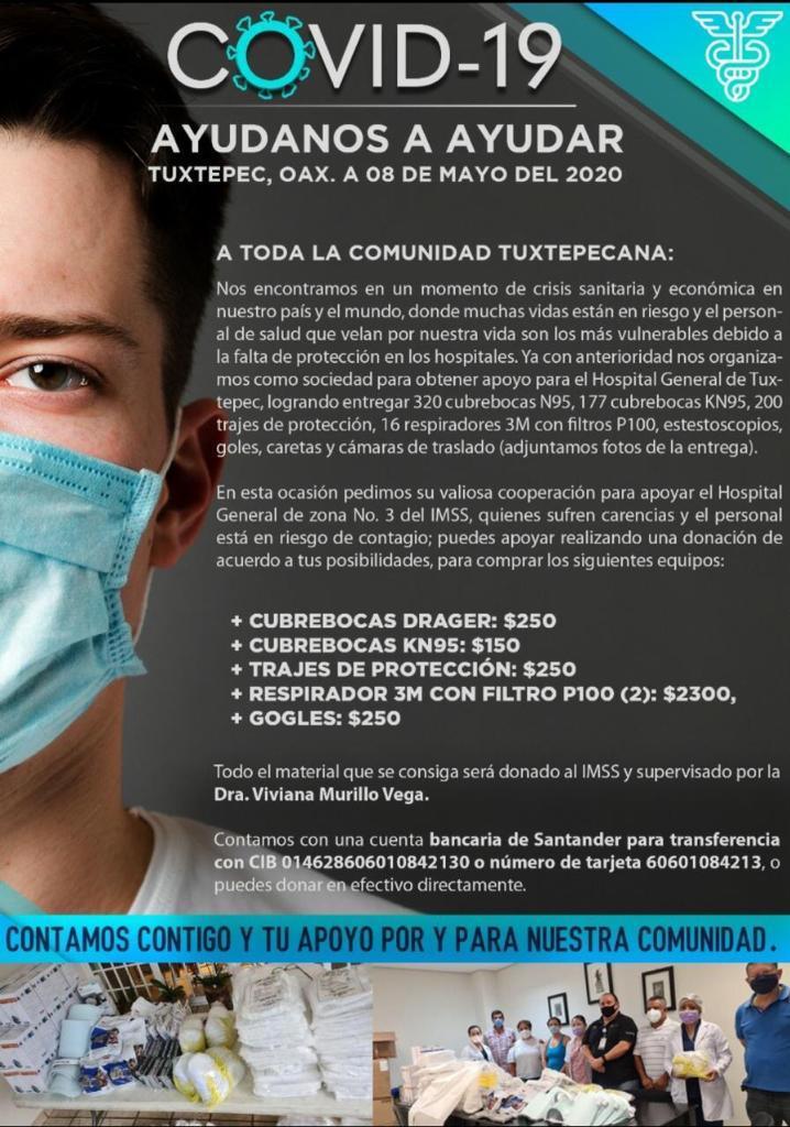 Ayúdanos a ayudar COVID-19 Tuxtepec